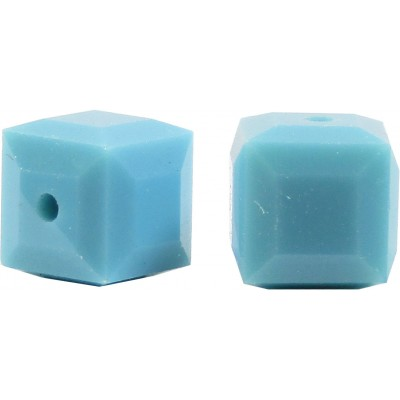 10 Swarovski Crystal 6mm Turquoise Cube Beads Article 5601