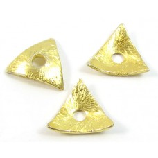 10 Brushed Vermeil Triangular Ruffle Spacer Beads measure approx. 9 mm.