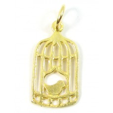1 Vermeil Bird in a Cage Charm with Soldered Ring