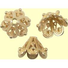 2 Light Rose Gold Vermeil 10mm Bead Caps