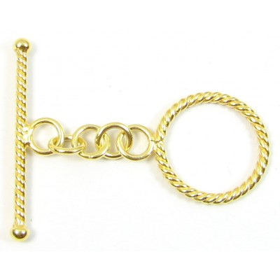 1 Vermeil Twisted Wire Toggle Clasp Set