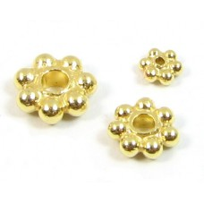 10 Vermeil 4mm Daisy Spacer Beads