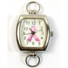 Silvertone and Awareness Ribbon Watch Face