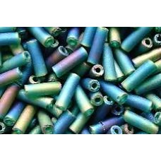 25g Trans Fab Emerald Bugle Beads