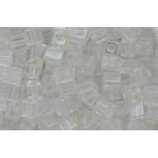 25gr Miyuki Cube Beads - Iridescent Rainbow Clear
