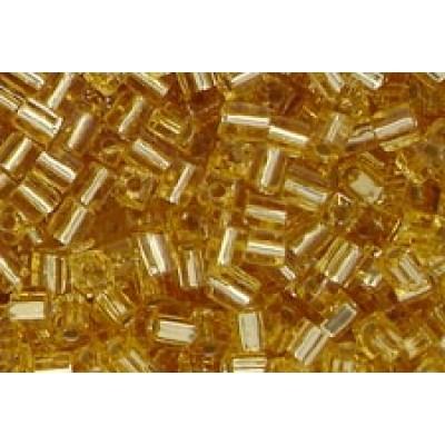25gr Miyuki Cube Beads - Gold Lined