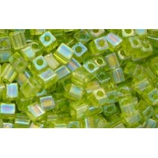 25gr Miyuki Cube Beads - Lime Iridescent