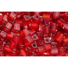 25gr Miyuki Cube Beads - Silver Lined Flame Red