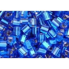 25gr Miyuki Cube Beads - Silver Lined Sapphire Blue