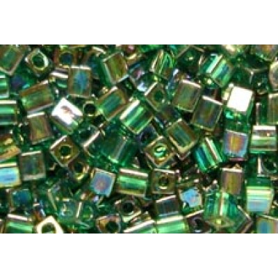 25gr Miyuki Cube Beads Rainbow Green Trans.