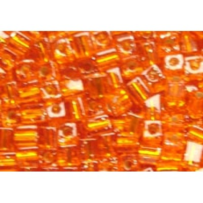 25gr Miyuki Cube Beads Silver Lined Orange