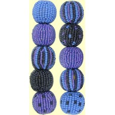 4 Cornflower Spots and Stripes 16mm Beaded Beads
