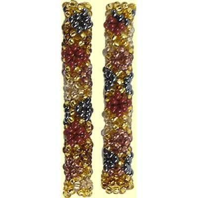 1 Fairtrade Golden Earth Beaded Tube - Diamond Motif