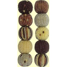 Fairtrade Natural Spots and Stripes 16mm Beaded Beads