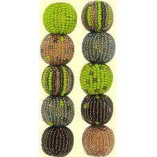 4 Forest Fern Spots and Stripes 16mm Beaded Beads