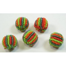 5 Jabulani Carribean 12mm Striped Beads