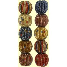 4 Golden Earth Spots and Stripes 16mm Beaded Beads