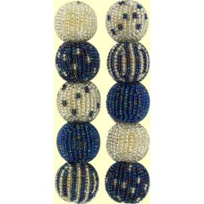 4 Metallic Blue Silver Spots and Stripes 16mm Beaded Beads