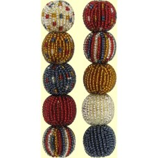 4 Raspberry Spots and Stripes 16mm Beaded Beads
