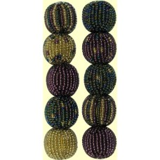 4 Shimmer Spots and Stripes 16mm Beaded Beads