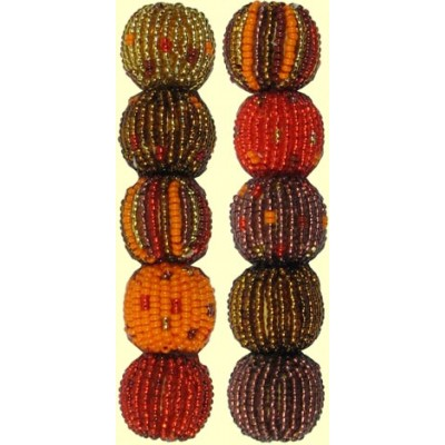 4 Sunset Spots and Stripes 16mm Beaded Beads