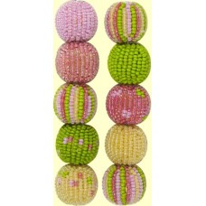 4 Botanical Spots and Stripes 16mm Beaded Beads