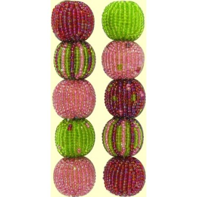 4 Watermelon Spots and Stripes 16mm Beaded Beads