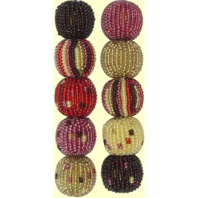 Fairtrade Hot Chocolate Spots and Stripes 16mm Beaded Beads