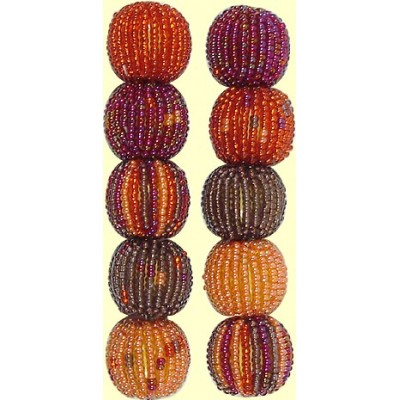 4 Fairtrade Magenta Spots and Stripes 16mm Beaded Beads