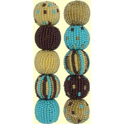 Fairtrade Sand & Sky Spots and Stripes 16mm Beaded Beads