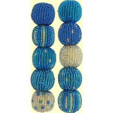 Fairtrade Sea Breeze Spots and Stripes 16mm Beaded Beads