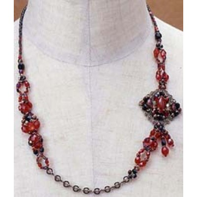 Toho Beaded Elegant Jewellery Kit - Necklace - Asymmetric Red