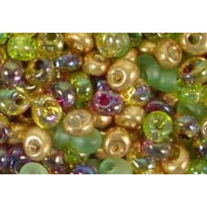 25gr Green Gold Mixture Magatama Beads