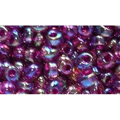 25gr Fuchsia Lined Aqua AB Magatama Beads