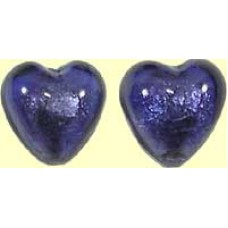 1 Murano Glass 24kt Gold Foil Lime Aqua Heart Bead