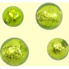 2 Murano Glass Leopard Gold Foil 8mm Hearts