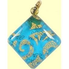 Murano Glass Diamond Pendant Diamond Aqua
