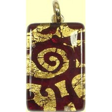 Murano Glass Oblong Pendant Medium Oblong Ruby