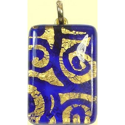 Murano Glass Oblong Pendant Medium Oblong Sapphire