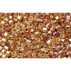 25gr Amber Rainbow Silver Lined Square Hole Rocailles