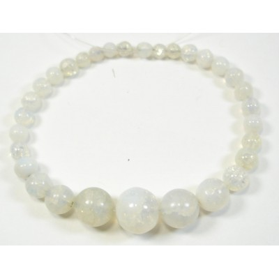 1 Graduated Strand of Cracked Quartz Round Beads