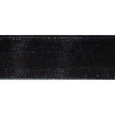 1m 9mm Sheer Black Organza Ribbon