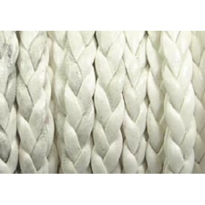 30cm Flat Braided Faux Leather White